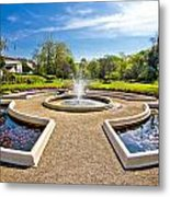 Fountain And Park In Zagreb Metal Print
