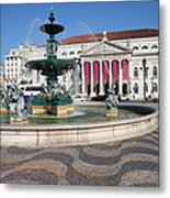 Fountain And Theater On Rossio Square In Lisbon Metal Print