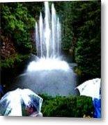 Fountain And Umbrellas Metal Print