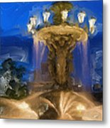 Fountain At Dusk Metal Print