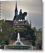 Fountain At Eakins Oval Metal Print