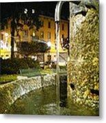 Fountain At Night Metal Print
