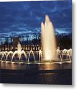 Fountain At Night World War II Memorial Washington Dc Metal Print
