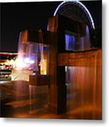 Fountain Foreground The Seattle Ferris Wheel Metal Print