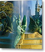 Fountain In Front Of A Building, Logan Metal Print