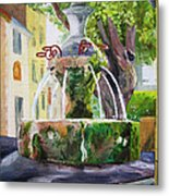 Fountain In Provence Metal Print
