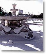 Fountain In The Snow Metal Print