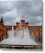 Fountain On Plaza De Espana. Seville Metal Print by Jenny Rainbow