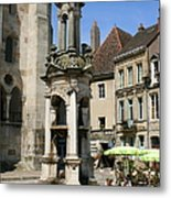 Fountain On The Market Place Autun Metal Print