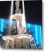 Fountain Square At Night Metal Print