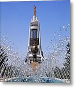 Fountains And The Arch Of Neutrality At Ashgabat In Turkmenistan Metal Print