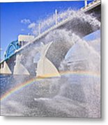 Fountains And The Market Street Bridge Metal Print by Tom and Pat Cory