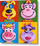 Four Animal Faces Metal Print