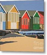 Four Beach Huts Metal Print