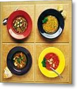 Four Dishes Of Different Food Metal Print