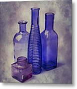 Four Glass Bottles Metal Print