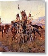 Four Mounted Indians Metal Print