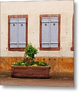 Four Pale Blue Shutters In Alsace France Metal Print