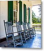 Four Porch Rockers Metal Print by Perry Webster