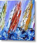 Four Sails To Four Winds Available As A Signed And Numbered Print On Canvas See Www.pixi-art.com Metal Print