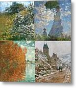 Four Seasons A Collage Of Monets Metal Print