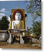 four sitting Buddhas 30 metres high looking in four points of the compass at Kyaikpun Pagoda Metal Print