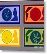 Four Tiles Metal Print by Meenal C