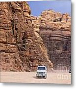 Four Wheel Drive Vehicles At Wadi Rum Jordan Metal Print