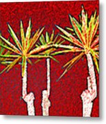 Four Yuccas In Red Metal Print
