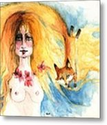 Fox Girl Metal Print