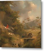 Fox Hunting In Hilly Country Metal Print