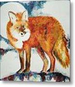 Fox In The Moon Metal Print
