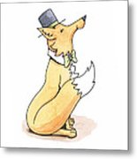Fox In Top Hat Metal Print
