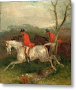 Foxhunting Coming To A Fence Full Cry Signed And Dated Metal Print