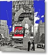 Fr. Duffy Statue Prior To Unveiling Coca Cola Sign Times Square New York City 1937-2014 Metal Print
