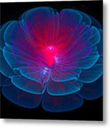 Fractal Flower Blue And Red Metal Print