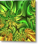 Fractal Gold And Green Together Metal Print