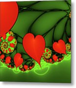 Fractal Hearts In The Discothec Metal Print