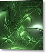 Fractal Living Green Metal Metal Print