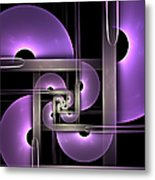 Fractal Purple Semicircles Metal Print