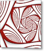 Fractal Red And White Metal Print