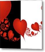 Fractal Red Hearts Metal Print