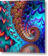 Fractal Sea Of Love With Hearts Metal Print