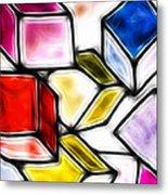 Fractalius Cubes Metal Print by Sharon Lisa Clarke