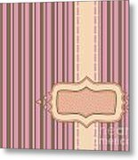 Frame With Ribbon Pinstripe Vector Metal Print