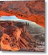 Framed By Mesa Arch Metal Print