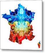 France - European Map By Sharon Cummings Metal Print