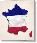 France Map Art With Flag Design Metal Print