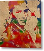 Frank Sinatra Watercolor Portrait On Worn Distressed Canvas Metal Print