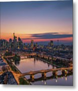 Frankfurt Skyline At Sunset Metal Print